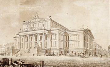 Karl Friedrich Schinkel, Berlin. Schauspielhaus auf dem Gendarmenmarkt. Perspektive - 1819 von Atelier Liesjes