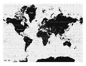 Decoratieve Wereldkaart zwart/wit van Emma Kersbergen