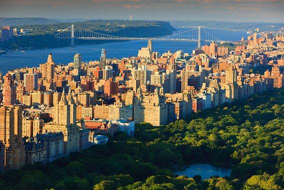 Central Park en de Hudson rivier  in New York City