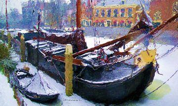 Tjalk in Delfshaven van Frans Jonker