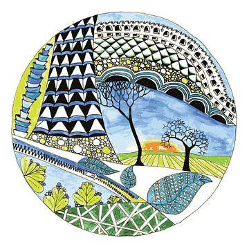 Rond landschap illustratie van Ivonne Wierink