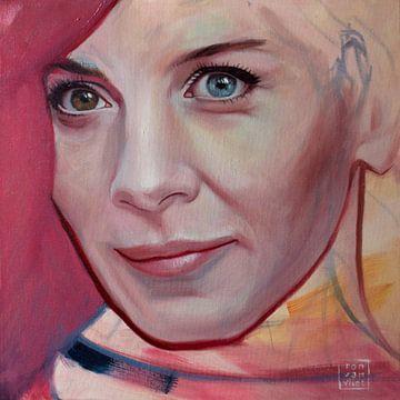 Porträt in Magenta von Ron van Vliet