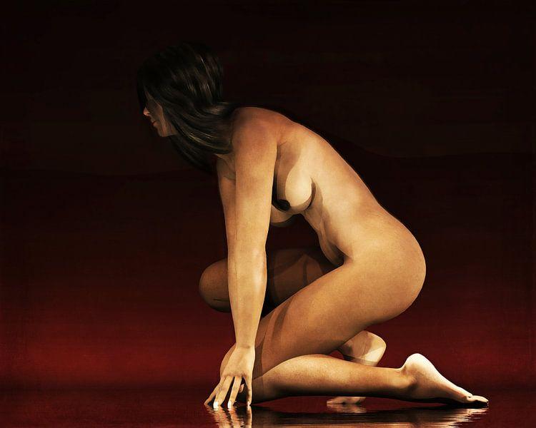 Erotisch naakt - Naakte vrouw in staat van paraatheid. van Jan Keteleer