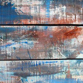 Abstract kleurenspel op hout nr. 2 /tweeluik van Inge Hogenbijl