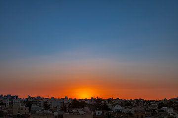 Zonsondergang, Nicosia van