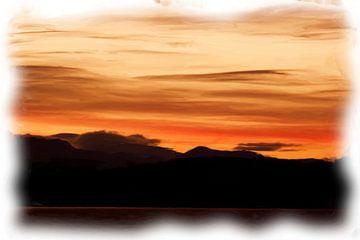Berglandschaft mit rotem Sonnenuntergang von Maurice Dawson