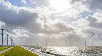 Windpark met windturbines aan de oever van het IJsselmeer in de Noordoostpolder van Sjoerd van der Wal