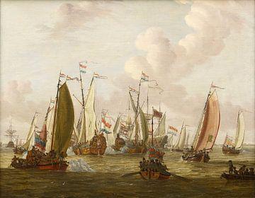Spiegelkampf auf der IJ in Amsterdam zu Ehren des Besuchs von Zar Peter dem Großen.
