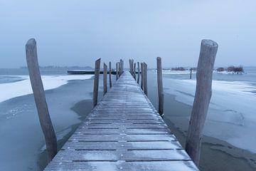 een steiger in het water in de winter. van Robin van Maanen