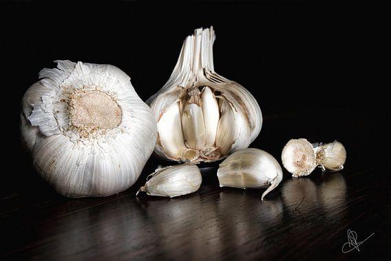 Stilleven met knoflook in donkere achtergrond - Still life with garlic in dark background van Marianne van der Zee