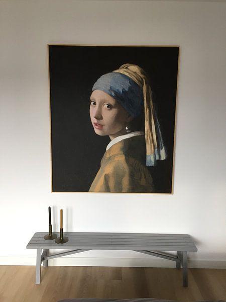 Klantfoto: Meisje met parel - Meisje van Vermeer - Schilderij (HQ) van Schilderijen Nu, op canvas