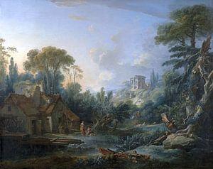 Landschaft mit einer Wassermühle, François Boucher, 1740