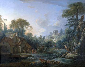 Landschaft mit einer Wassermühle, François Boucher, 1740 von Atelier Liesjes