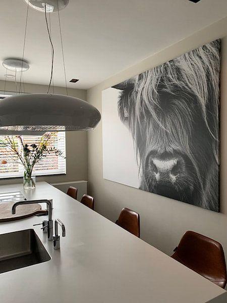 Photo de nos clients: Portret Schotse Hooglander zwart-wit sur Sandra van Kampen, sur toile