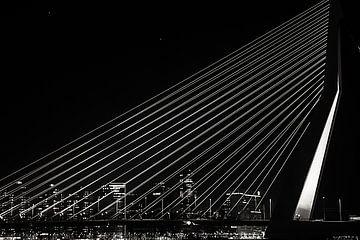 Skyline Rotterdam Erasmusbrug bij Nacht van Brian Morgan