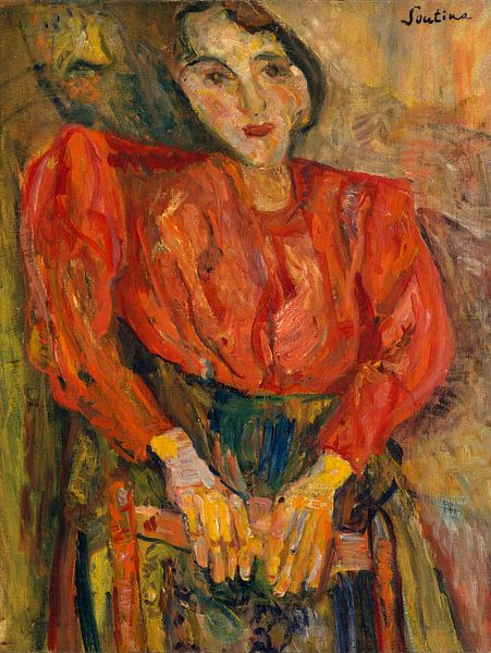 Frau in roter Bluse, Chaim Soutine von Meesterlijcke Meesters