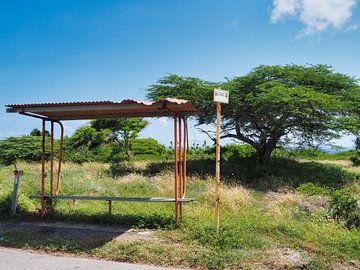 Ruïne van een bushalte op Curacao van Atelier Liesjes