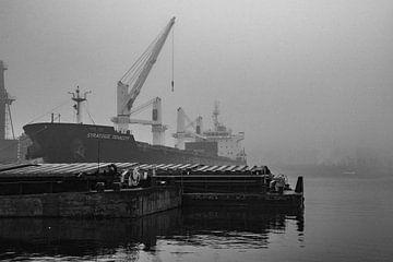 Frachtschiffe im Nebel im Hafen von Amsterdam. von scheepskijkerhavenfotografie