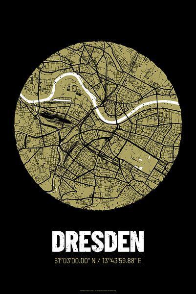 Dresden – City Map Design Stadtplan Karte (Grunge) von ViaMapia