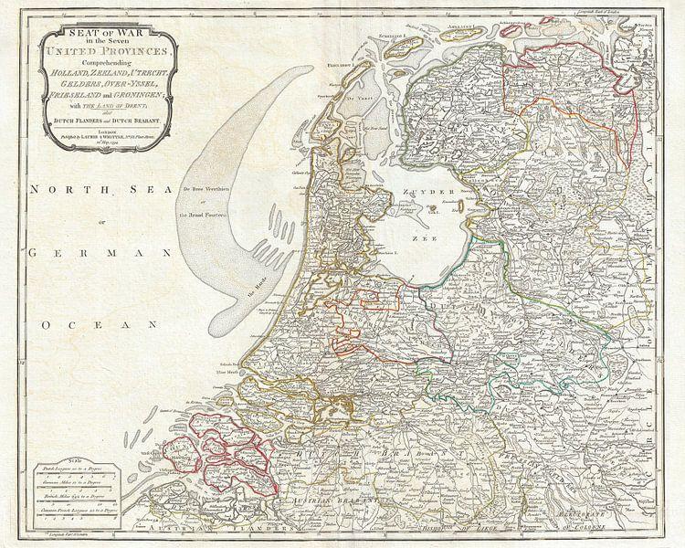 Kaart van Nederland 1794 van Atelier Liesjes