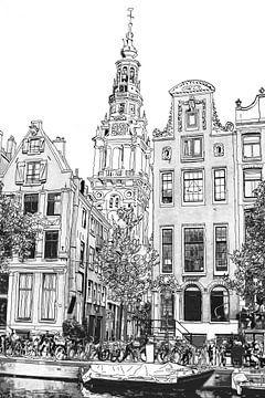 Pen-Aquarell-Zeichnung Kloveniersburgwal 50 Amsterdam Ansicht von Hendrik-Jan Kornelis