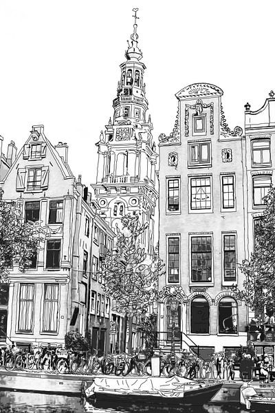 Zuiderkerk Aquarel Tekening Kloveniersburgwal 50 Amsterdam Pentekening Lijntekening van Hendrik-Jan Kornelis