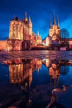 Erfurt in de avond van Martin Wasilewski