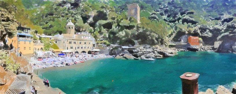San Fruttuoso Italië Panaroma - Schilderij van Schildersatelier van der Ven