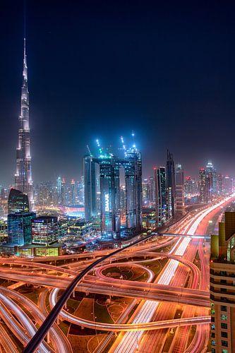 Sheikh Zayed Road en Burj Khalifa van