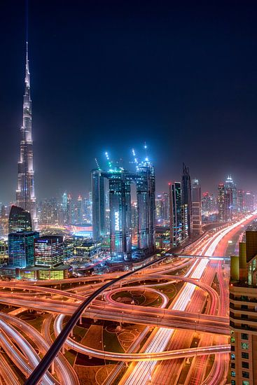 Sheikh Zayed Road en Burj Khalifa van Rene Siebring