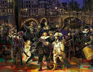 Die Nachtwache von Rembrandt in einer modernen und fröhlichen Jacke. von