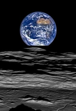 Opkomende Aarde boven de horizon van de maan van Atelier Liesjes