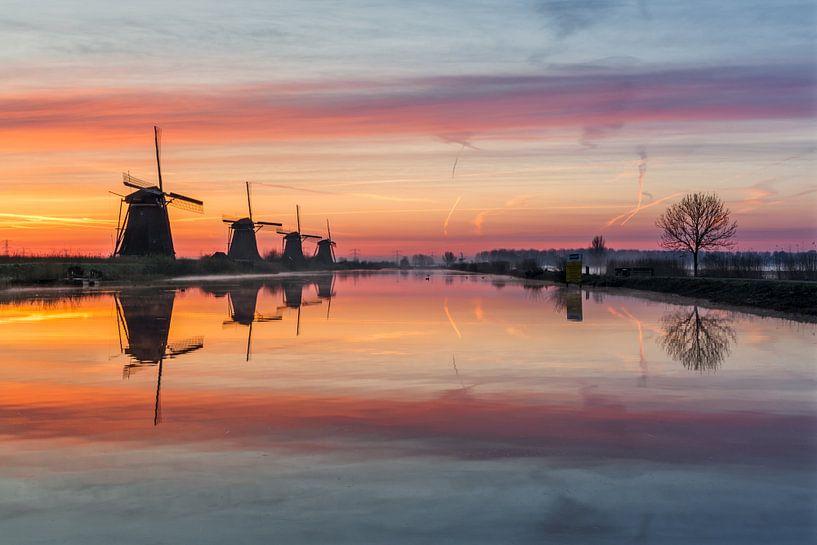 Kinderdijk sunrise van Mario Visser