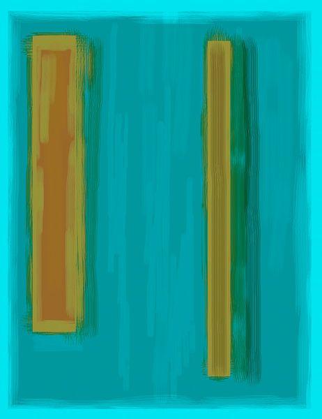 Abstract schilderij met zeegroen en okergeel van Rietje Bulthuis