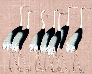 Japanse kraanvogels op pastelroze van Mad Dog Art