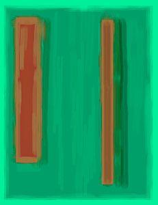 Abstract schilderij met groen en oranje