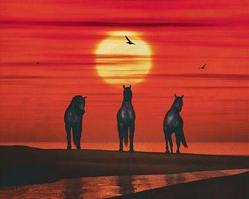 Drie paarden op het strand van Jan Keteleer