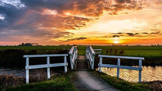 Spectaculaire zonsondergang van Jaap Terpstra