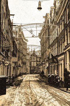 Zeedijk  Amsterdam Sepia Winter van Hendrik-Jan Kornelis