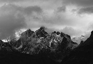Slecht Weer in de Alpen (ZwartWit)