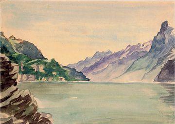 Bergmeer / meer / bergen / bergen - aquarel geschilderd door VK (Veit Kessler)