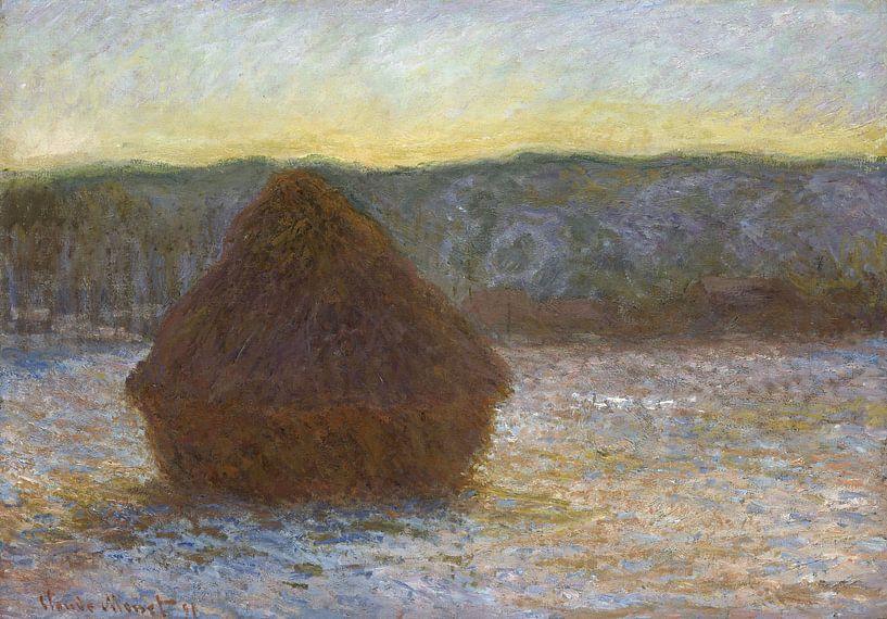 Grainstack, Tauwetter, Sonnenuntergang, Claude Monet von The Masters