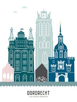 Skyline Illustration Stadt Dordrecht in Farbe von Mevrouw Emmer