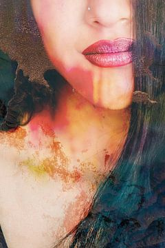 Gesicht einer Frau in Rot / Orange / Erdtönen von Art By Dominic