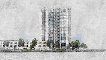 Architektonische Skizze des Wohnturms Landmark (Bergen op Zoom) von Art by Jeronimo