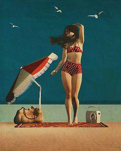 Strand Pinup Kunst - Mädchen und Möwen von Jan Keteleer