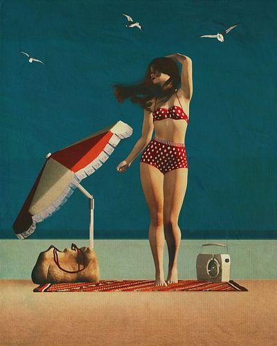 Strand pinup kunst - Meisje en meeuwen
