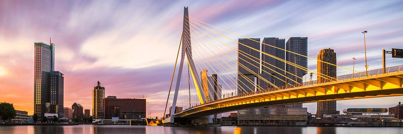 Panorama des goldenen Sonnenaufgangs Rotterdamer Erasmusbrücke von Vincent Fennis