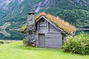 oud houten huis met begroeid dak
