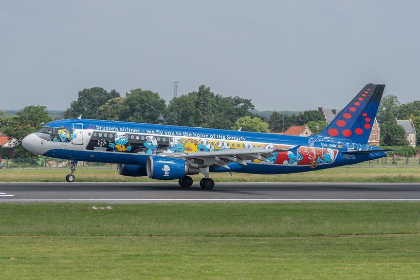 Fraai beschilderde Airbus A320 van Brussels Airlines (registratie OO-SND, thema van de beschildering van Jaap van den Berg